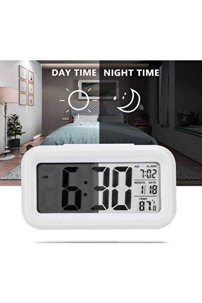 Smart Lcd Işıklı Sensörlü Termometreli Alarmlı Dijital Masa Saati + Pil