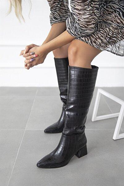 STRASWANS Larson Kadın Sivri Burun Kroko Çizme Siyah