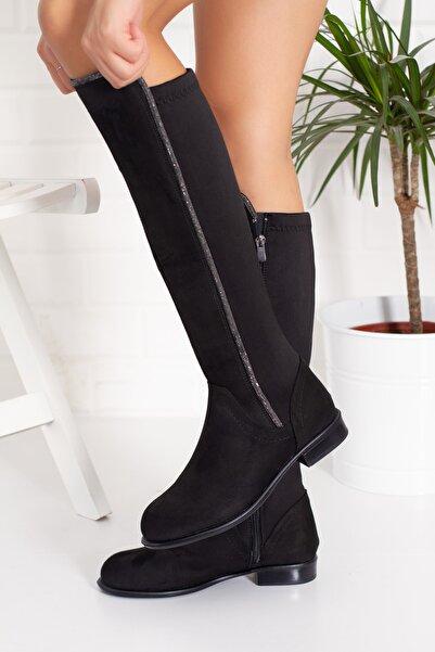 Alessia Shoes Siyah Süet Taşlı Diz Altı Çizme