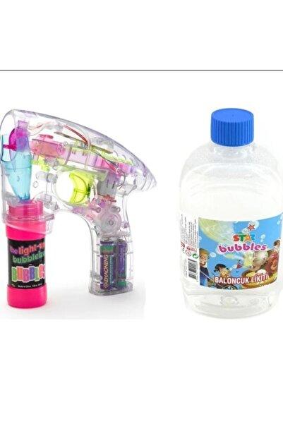 Mofy Baby Baloncuk Köpük Tabancası Işıklı Pilli Köpük Makinesi + 500 Ml Baloncuk Likiti