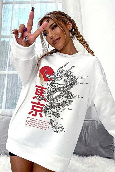 Millionaire Kadın Beyaz Warrior Oversize Sweatshirt