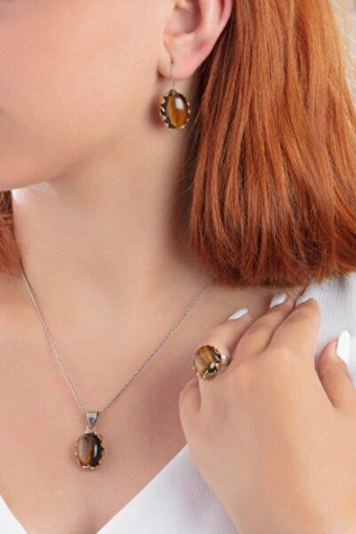 Güçlü Kuyumculuk Kadın Dogal Kaplan Gözü Taşlı Tugra Ve Vav Modelli Otantik Gümüş Set