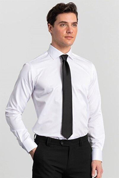 Tudors Modern Slim Fit Beyaz Erkek Gömlek