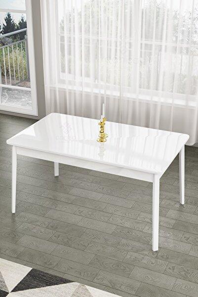 Canisa Concept Lav Serisi,ahşap Ayaklı Sabit 80x130 Beyaz Mutfak Masası, Yemek Masası