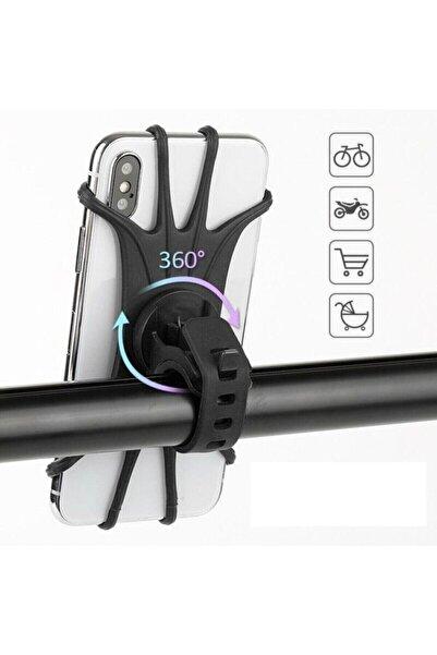 extrasepetim Universal Bisiklet Motosiklet Çocuk Arabası Silikon 360 Derece Telefon Tutucu Tüm Modellerle Uyumlu