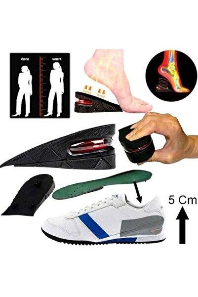 Kitch&Home Boy Uzatıcı Tabanlık Hava Yastıklı Ayakkabı Içi Topuk Yükseltici 5 Cm Siyah