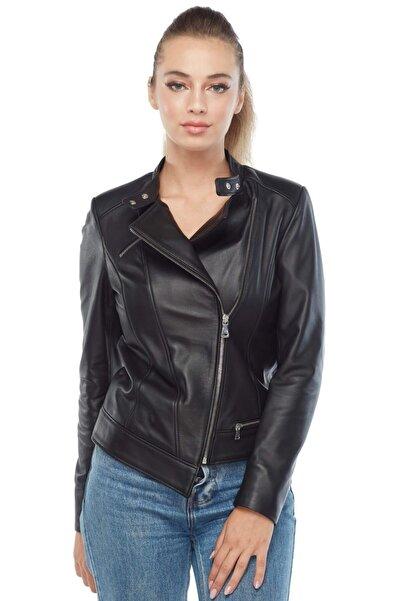 Deriza Francesca Hakiki Kadın Deri Ceket Siyah