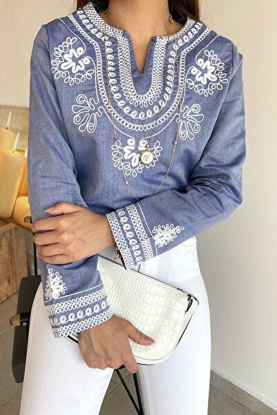 FURKAN EXCLUSIVE Kadın Mavi Nakış İşlemeli Bohem Dokuma Bluz