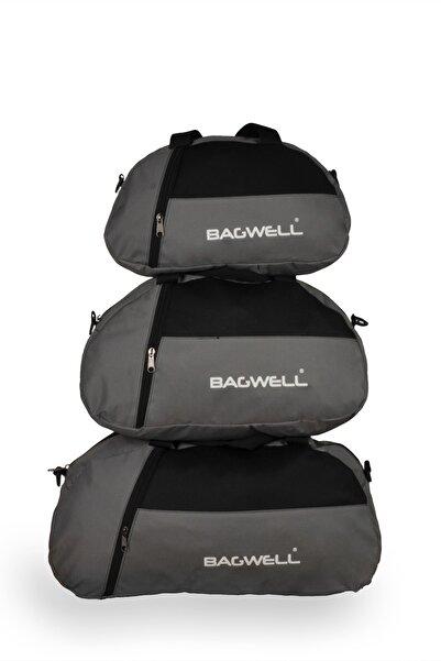 BAGWELL 3'lü Set Gri Spor Ve Seyahat Çantası