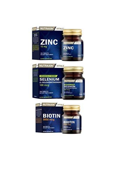 Nutraxin Cilt, Saç,tırnak Sağlığı Için Çinko Takviyesi 15 Mg 100 Tablet+biotin 30 Tablet+selenium 100 Tablet
