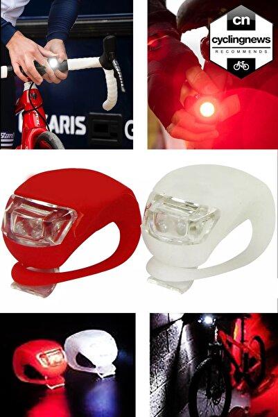 Bicycleworld Ikiliçift Mavi / Kırmızı Led Lamba Kurbağa Silikon Işık 3 Kademeli Bisiklet Gidon Işığı 2'li Kırmızı