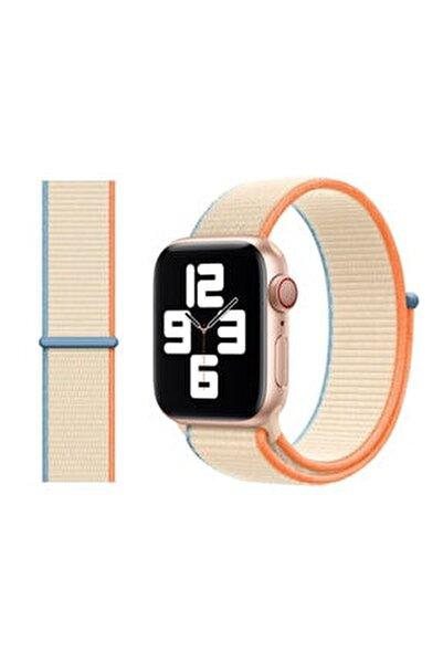Apple Watch 2 3 4 5 6 Se Uyumlu 38 Mm Ve 40 Mm Için Dokuma Kordon Kayış - Krem