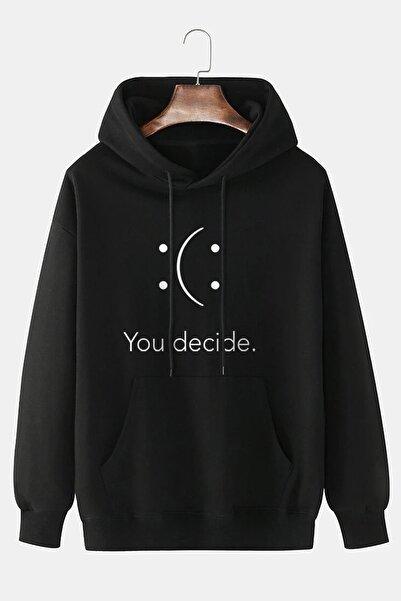 dAcollection Unisex Pamuklu Rahat Kalıp You Decide Baskılı Kapüşonlu Sweatshirt - Siyah