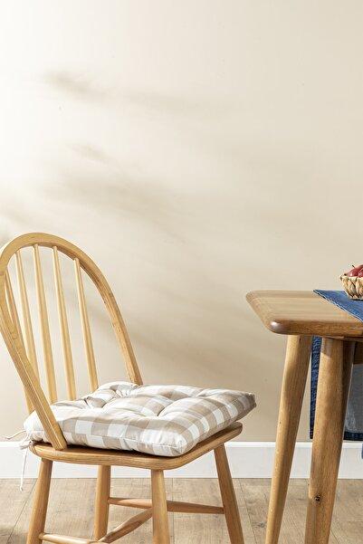 English Home Gingham Pamuk Polyester Mutfak Minderi 45x45 Cm Bej