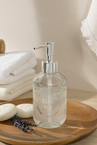 English Home Soft Bath Cam Banyo Sıvı Sabunluk 7x7x18 Cm Silver