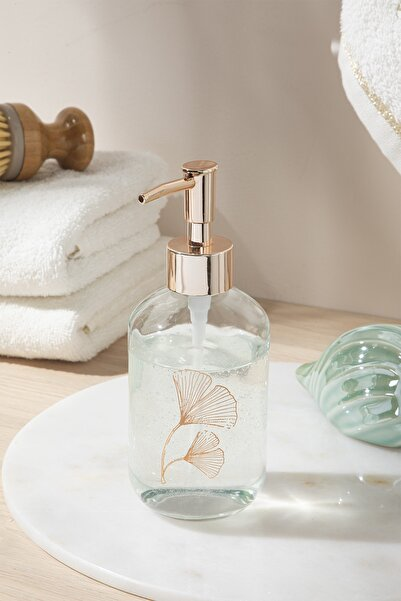English Home Gingko Leaf Cam Banyo Sıvı Sabunluk 7x7x18 Cm Rose Gold