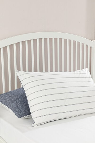 English Home Textured Stripe Pamuklu 2'li Yastık Kılıfı 50x70 Cm Lacivert