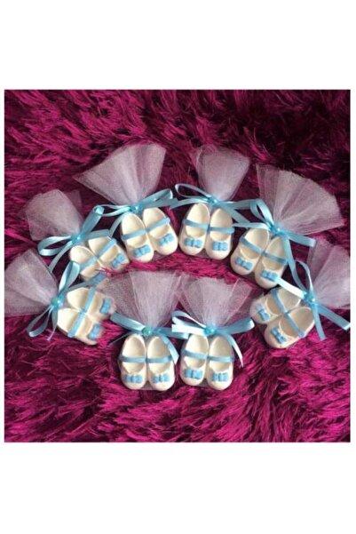 BY FİEYDA 20 Adet Kokulu Taş Mavi Bebek Ayakkabısı Bebek Şekeri Magnet