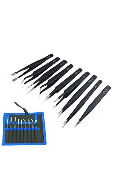 Ally Mobile Esd 10 Hassas Elektronik Cımbız Seti Antistatik Çelik Tweezer Set Siyah