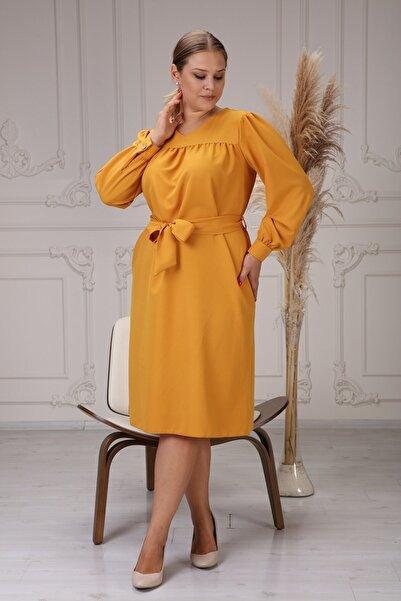 apsen Kadın V Yaka Detaylı Büzgülü Manşetli Uzun Kol Mevsimlik Midi Boy Büyük Beden Elbise 4409/110