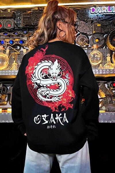 Millionaire Kadın Siyah Osaka Oversize Sweatshirt