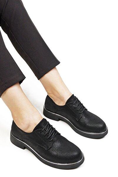 Marjin Kadın Oxford Ayakkabı Tervasiyah Petek