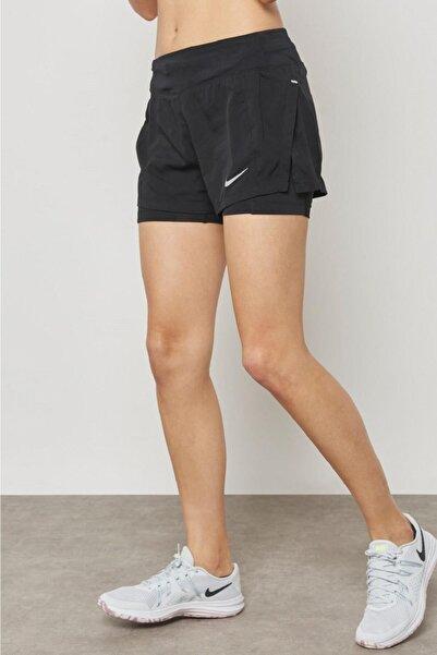 Nike Eclipse Flex 2 In 1 Running Shorts Buhar Bariyerli Cepli Siyah Koşu Şortu