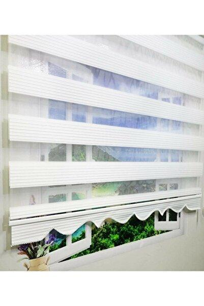Babacan Home Design Babacan Brillant Pliseli Beyaz Etek Dilimli Zebra Perde 60 X 200