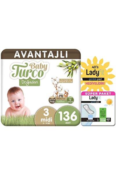 Baby Turco Doğadan Avantajlı Paket Bebek Bezi 3 Numara Midi 136 Adet + Günlük Ped