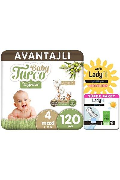 Baby Turco Doğadan Avantajlı Paket Bebek Bezi 4 Numara Maxi 120 Adet + Günlük Ped