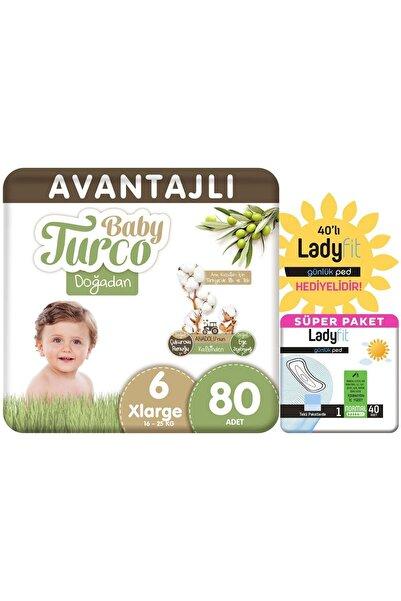 Baby Turco Doğadan Avantajlı Paket Bebek Bezi 6 Numara Xlarge 80 Adet + Günlük Ped