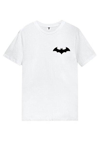 Batman Logo Baskılı Kısa Kollu Beyaz Gamer Tişört
