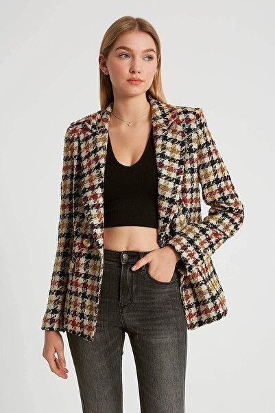 Robin Kadın Siyah Ekoseli Ceket