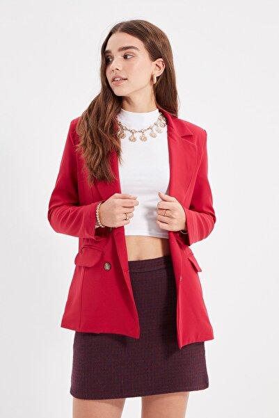 TRENDYOLMİLLA Kırmızı Düğmeli Blazer Ceket TWOAW22CE0197