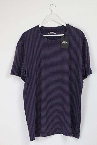 MADS NORGAARD Battal O Yaka T-shirt - Bordo / Mavi - %100 Pamuk