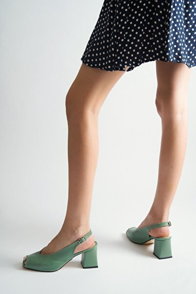 Elegant Ayakkabı Stiletto Ön-arka Açık Mint Yeşil