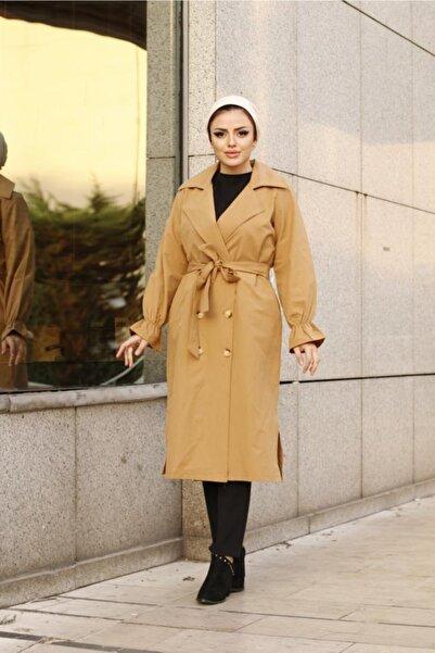 Essah Moda Kadın Camel Önü Düğmeli Bağlama Detaylı Trençkot