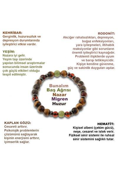 OSMANLI DEĞERLİ TAŞ Kehribar, Kaplan Gözü, Yeşim, Hematit, Rodonit Doğal Taş Bileklik