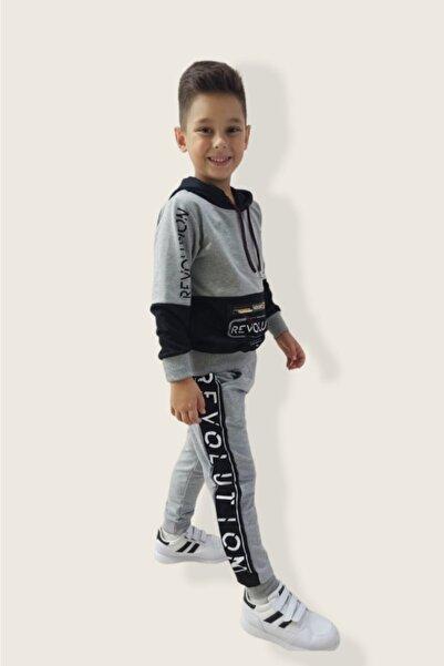 shopshop Şık Model Gri-siyah Renk Erkek Çocuk Eşofman Takımı