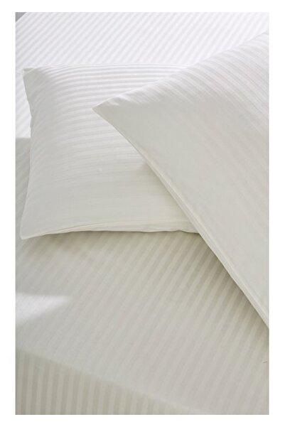 Tekstil Home Lüx Renkli Serisi 83 Tel Çizgili Pamuk Saten Çarşaf Seti Çift Kişilik Lastikli Krem