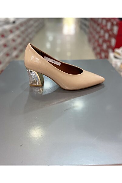 Hacıoğlu Ayakkabı Punto Ten Kırışık Rugan Şeffaf Topuklu Klasik Ayakkabı 298