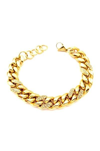 Welch ???? Gold Çelik Taşlı Zincir Bileklik 18 + 3 cm
