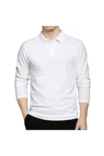 HediyeMania Polo Yaka Uzun Kollu Beyaz Tişört Pamuklu Uzun Kol Polo Yakalı Tshirt