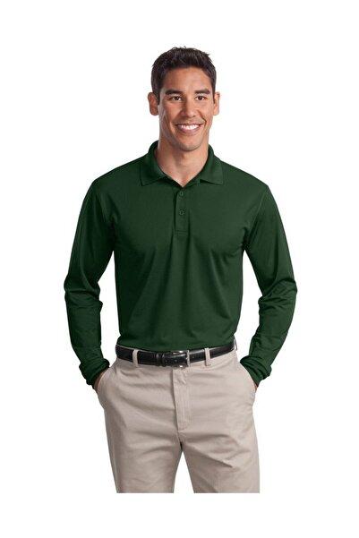 HediyeMania Polo Yaka Uzun Kollu Nefti Koyu Yeşil Renk Tişört Pamuklu Uzun Kol Polo Yakalı Tshirt