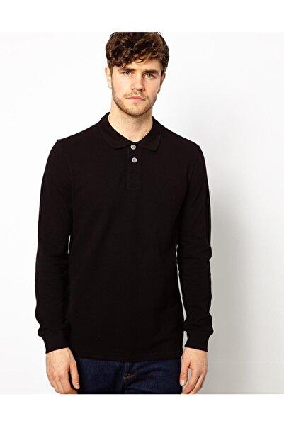 HediyeMania Polo Yaka Uzun Kollu Siyah Renk Tişört Pamuklu Uzun Kol Polo Yakalı Tshirt