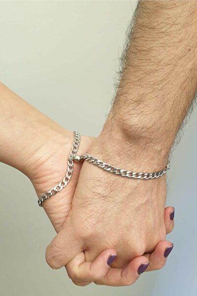 Köstebek Gümüş Çelik Mıknatıslı Çift Sevgili Bilekliği