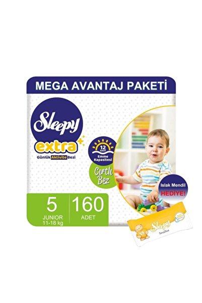 Sleepy Extra Mega Avantaj Paketi Günlük Aktivite Bezi 5 Numara 160 Adet'li 11-18 kg Islak Mendil