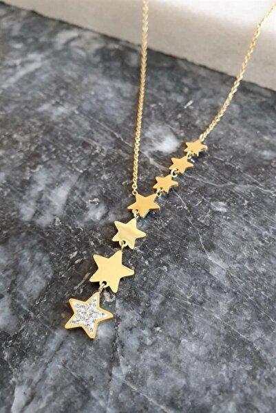 THE CAN'S Gold Sıralı Kayan Yıldız Yolu Çelik Kolye 18k Altın Kaplama 45 Cm