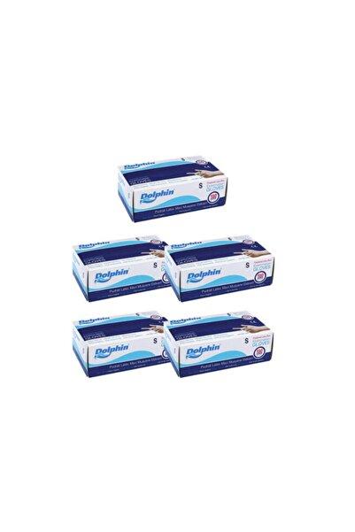 Dolphin Mavi Lateks Pudralı Eldiven 5 Paket 100 Lü S Beden