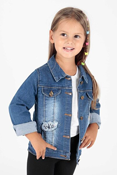 Ahenk Kids Ak653031 Kız Çocuk Çiçek Nakışlı Jean Ceket
